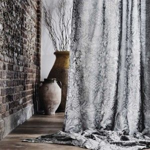 1-morris-pure-fabric-sunflower-metallic-white-curtain-floreal-plants-vases-yellow-dark-interiors